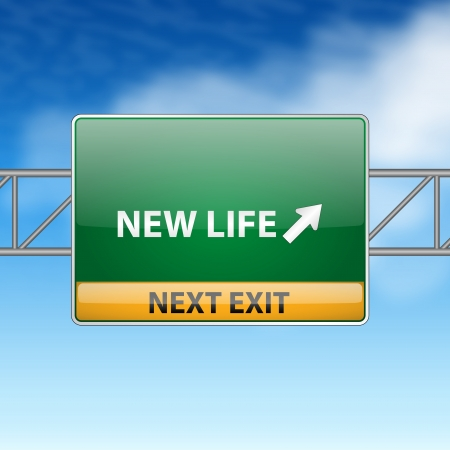 new start: new life concept with road sign on a blue sky  Illustration