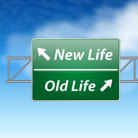uithangbord: Nieuw leven oude leven verkeersbord op een blauwe hemel