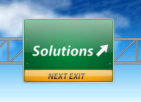 solutions freeway: Solutions Freeway Exit Sign on blue sky background
