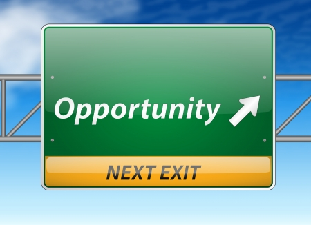 business opportunity: Opportunity Freeway Exit Sign on blue sky background