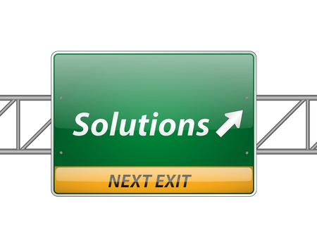 consequence: Solutions Freeway Exit Sign