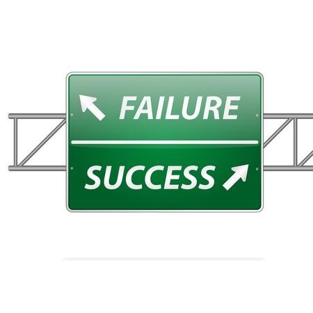 failure sign: Success and Failure Road Sign Concept
