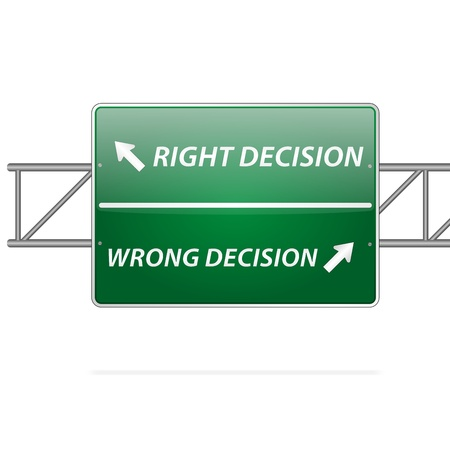 Right and wrong decisions direction board (sign)