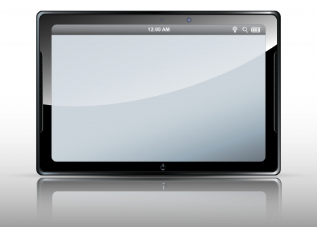realistic tablet with a white screen , black frame   Vector