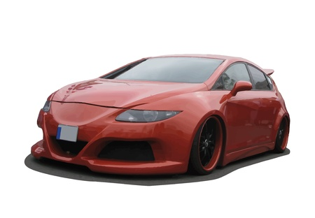 exotic car: Tuned European orange car