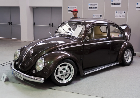 Romania, Bucharest - October 14,2012: Brown colored VW Beetle at the 4Tuning Fest Auto Show Bucharest, Romania