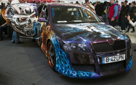 pimp: Romania, Bucharest - October 14,2012: Skoda Octavia Painted at the 4Tuning Fest Auto Show Bucharest, Romania Editorial