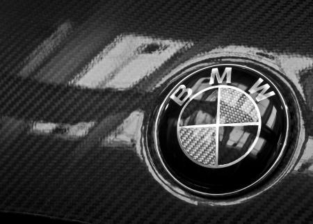 bucarest: Roumanie, Bucarest - Octobre 14,2012: logo carbone BMW au Salon de l'auto 4Tuning Fest Bucarest, Roumanie