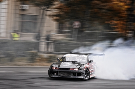 Romania, Bucharest - October 21,2011: Drifting car at the Grand Prix of Romania