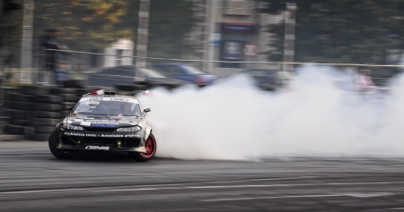 refuel: Romania, Bucharest - October 21,2011: Drifting car at the Grand Prix of Romania