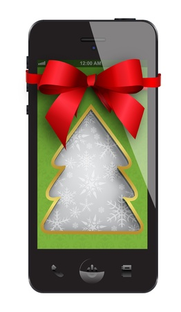 Smartphone Gift isolated on white Illustration