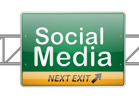 brighter: Illustrated social media sign isolated on white
