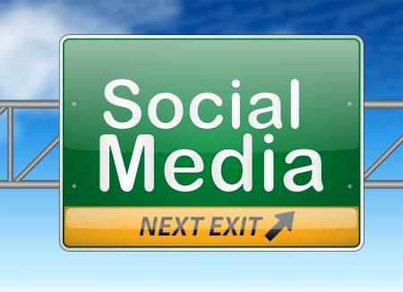 brighter: Illustrated social media sign over blue sky