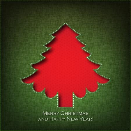 Christmas tree  cut the textile    Vector