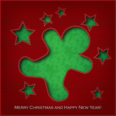 Christmas card cookie cut the textile    Vector