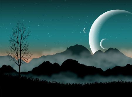 SF space night sky with silhouette mountains and close planets Vector