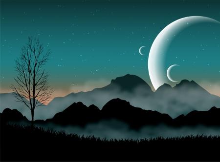 SF spazio cielo notturno con le montagne silhouette e pianeti vicini Vettoriali