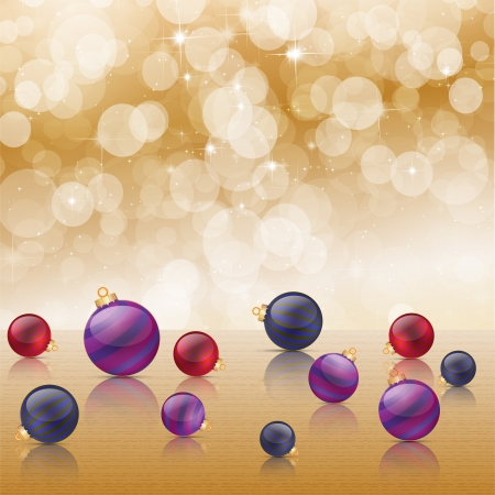 Christmas baubles on background of defocused golden lights   Stock Vector - 16423444