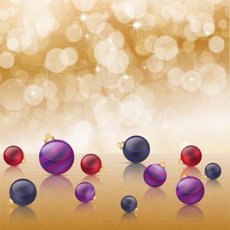 Christmas baubles on background of defocused golden lights Stock Vector - 16423444