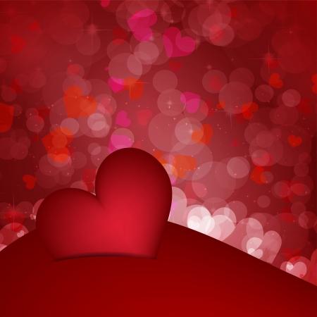 Shiny hearts bokeh light Valentine s day background Vector