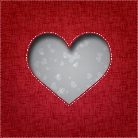 valentine s card: Beautiful textile heart - Valentine s Day card