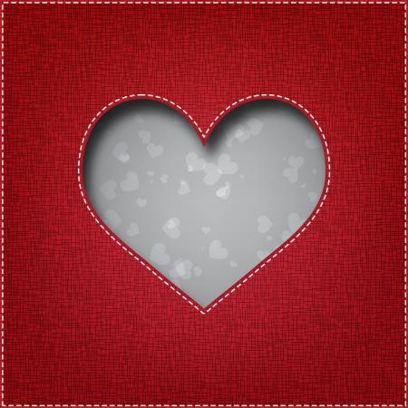 C?ur du textile Belle - carte du jour de Valentine s