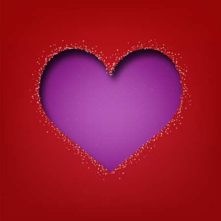 Abstract Valentine s day Heart cut from paper on red background