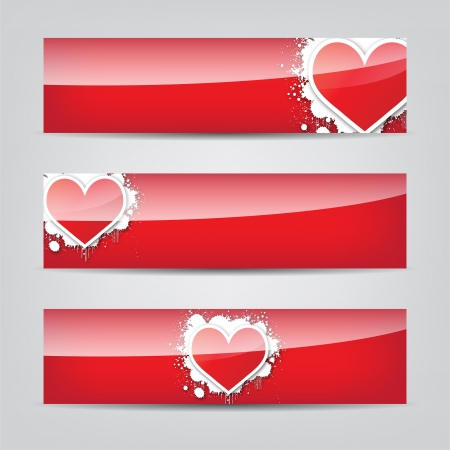 splats: Abstract Heart colorful web banner Illustration