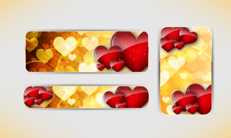 Set of three banners with red hearts  Valentine s Day   background Vector