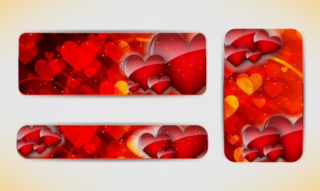 valentine s day: Set of three banners with red hearts  Valentine s Day   background