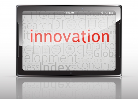 innovation word: Innovation Tablet with reflection