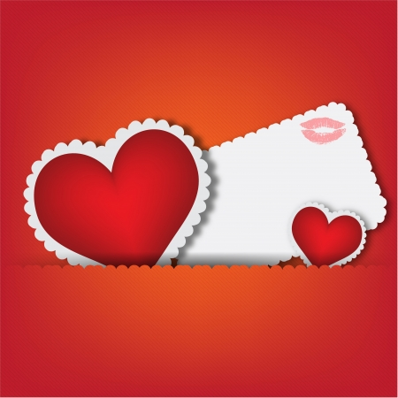Red heart paper classic valentine s day  illustration Stock Vector - 16747932