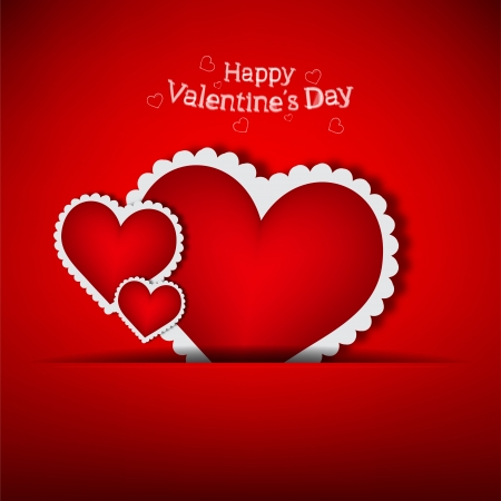 Couple of valentine s heart in pocket  vector illustration on red background and place for text Stock Vector - 16810556