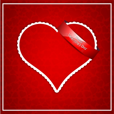 Red heart paper classic valentine s day vector illustration Stock Vector - 16866024