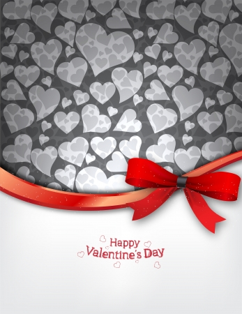 valentine s card: Heart Background with red bow Illustration