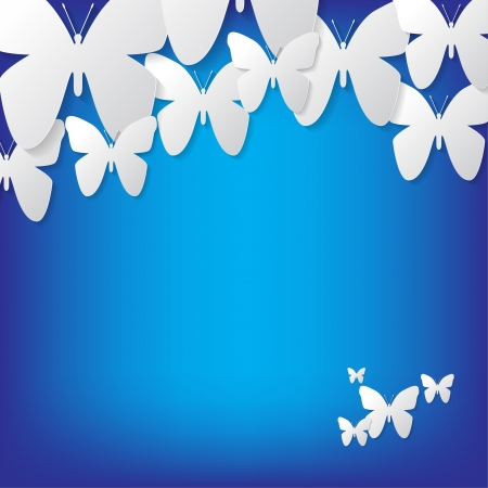 Illustration with butterflies on a blue background Vector