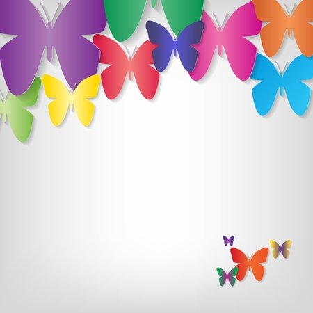 Illustration with butterflies on a grey background Stock Vector - 17474586