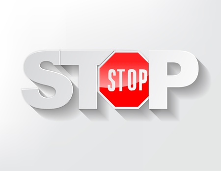 Stop Text with the stop sign on a light background. Stock Vector - 17513505