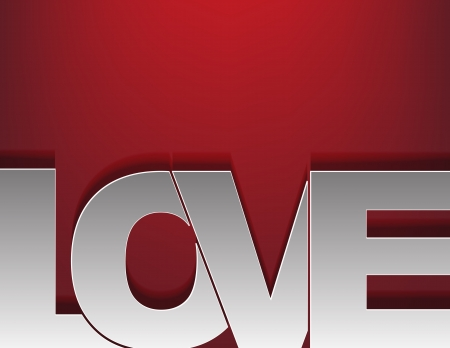 word love: Background with the word love in a silver color on a red background.
