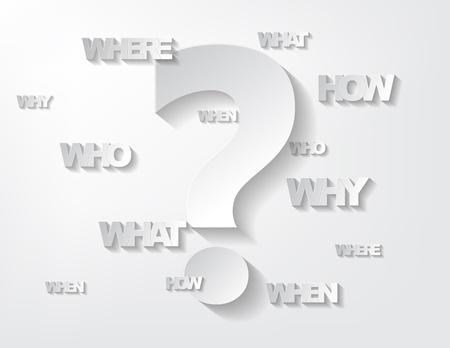 Achtergrond met sticker vragen en vraagteken op een witte achtergrond. Vector Illustratie