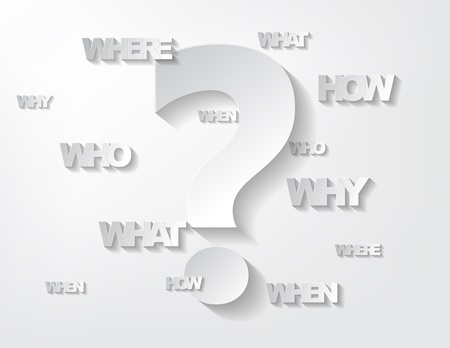 when: Background with sticker questions and question mark on a white background.