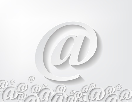 arroba: image of paper arroba isolated in white background Illustration