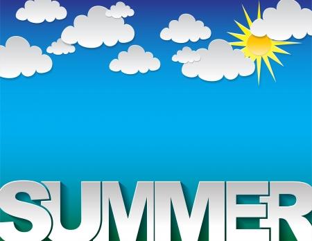 구름과 파란색 배경에 여름 텍스트 배경