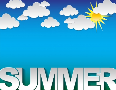 background with the summer text on a blue background with clouds Vector