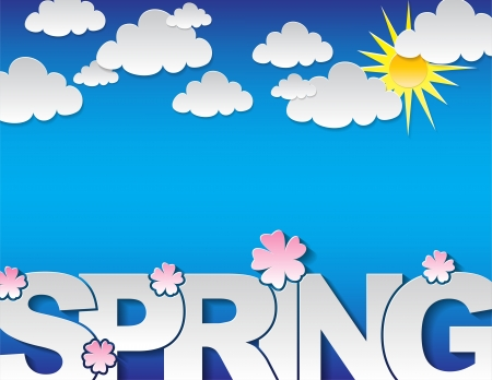 spring background: Spring concept background with the text spring and many clouds on a blue background
