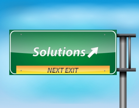Highway Sign next exit to get Solutions. Stock Vector - 17513540