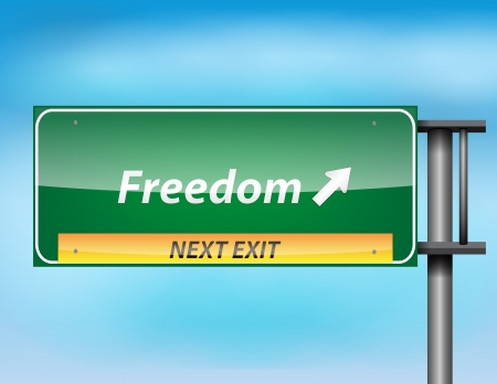 Glossy highway sign with freedom text on a blue background. Vector