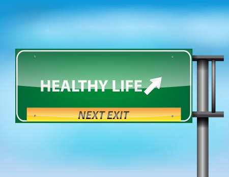 healty eating: Glossy highway sign with Healthy Life text on a blue background.