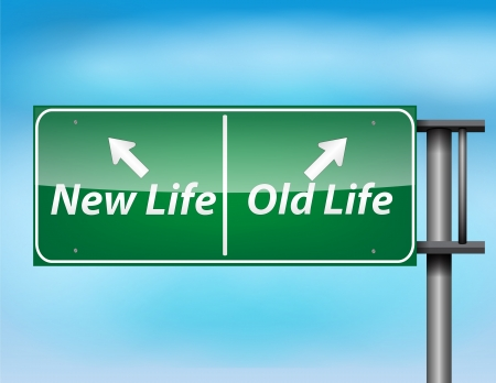 Glossy highway sign with New Life and Old life text on a blue background. Vector