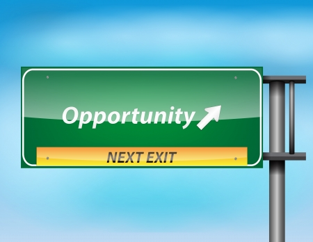 opportunity sign: Glossy highway sign with Opportunity text on a blue background. Illustration